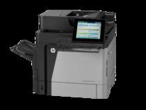HP LaserJet Enterprise Flow MFP M630h, with keyboard, left view, no output