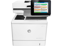 HP Color LaserJet Managed Flow MFP M577cm, center view, keyboard out