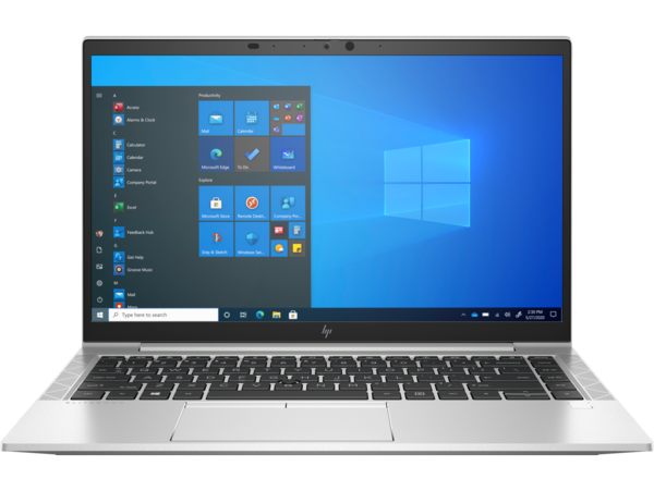 HP EliteBook 840 G8 (14, Natural Silver, WLAN, ALS-SKU, NT, HPcam, FPR, nonODD, Win10) Front Facing